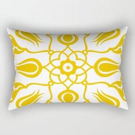 Yellow Turkish Traditional Floral Tile Art Rectangular Pillow