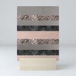 Blush Glitter Glam Stripes #1 #shiny #decor #art #society6 Mini Art Print