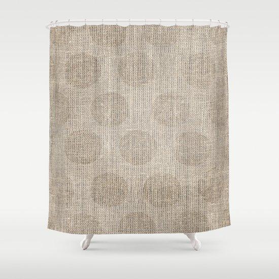 Polka Dot Burlap Shower Curtain