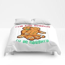 Naughty Gingerbread Couple Christmas Present funny Comforters