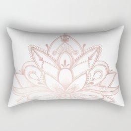 Boho Lotus Rose Gold Rectangular Pillow