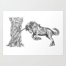 Unicorn and the Tree Art Print