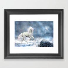 White Unicorn Framed Art Print