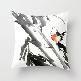 Bird2- Chinese Shui-mo (水墨) Throw Pillow