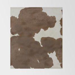 Dark Brown & White Cow Hide Throw Blanket