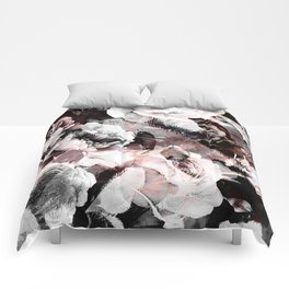 flowers - roses and black marble Comforters