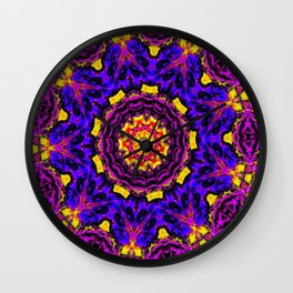 Lovely Healing Mandalas in Brilliant Colors: Black, Orchid, Yellow, Royal Blue and Pink Wall Clock