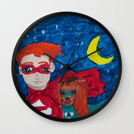 ~ Superhero Boy and His Loyal Sidekick ~ Redhead & Ruby King Charles Cavalier Spaniel Wall Clock