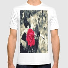 Red Rose MEDIUM White Mens Fitted Tee