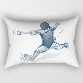 Fencer. Print for t-shirt. Vector engraving illustration. Rectangular Pillow