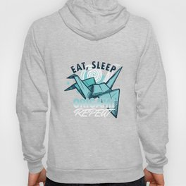 Eat Sleep Origami Repeat Japanese Paper Crafting Paper Folds Art Craft Gifts Hoody