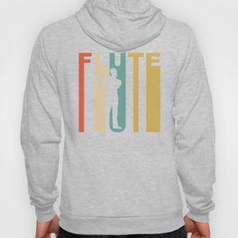 Retro 1970's Style Flute Player Silhouette Music Hoody