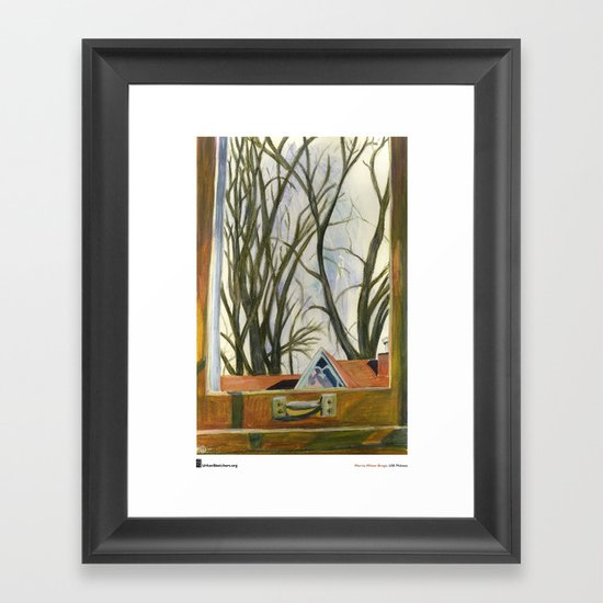 "Marcia Milner-Brage, ""Window Silver Maples Winter"" Framed Art Print"