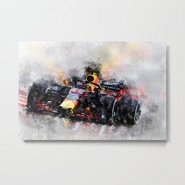 Max Verstappen Racing Metal Print