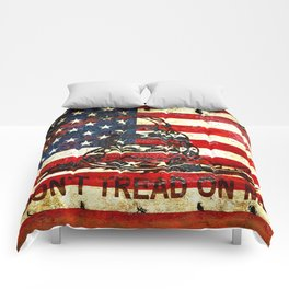 American Flag And Gadsden Flag Composition Comforters