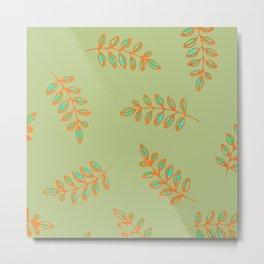 Speckled leaf print pattern, sage green orange teal blue Metal Print