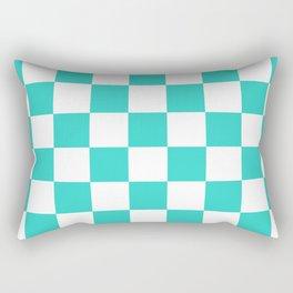 Checkered - White and Turquoise Rectangular Pillow