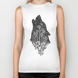 Adventure Wolf - Nature Mountains Wolves Howling Design Black on Pale Pink Biker Tank