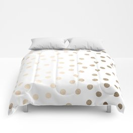 Simply Dots in White Gold Sands Comforters