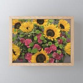 Sunflowers and Little Red Roses Framed Mini Art Print