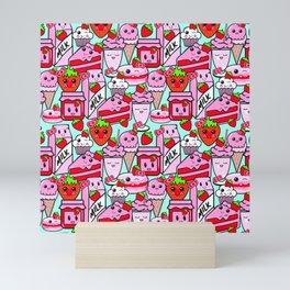 Kawaii Strawberries Mini Art Print