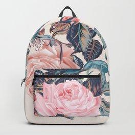 Botanical vector rose illustration in vintage style Backpack