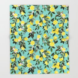 Summer Lemon Floral Throw Blanket