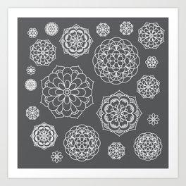Snowflake Mandalas in Grey Art Print