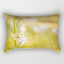 White flower with ladybug Rectangular Pillow