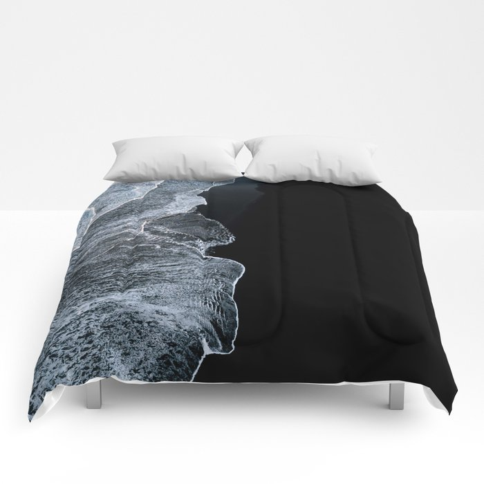 Waves on a black sand beach in iceland - minimalist Landscape Photography Comforters