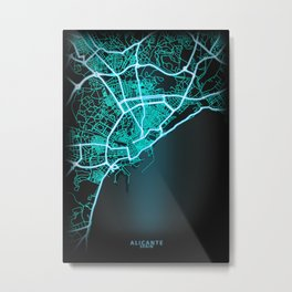 Alicante, Spain, Blue, White, Neon, Glow, City, Map Metal Print