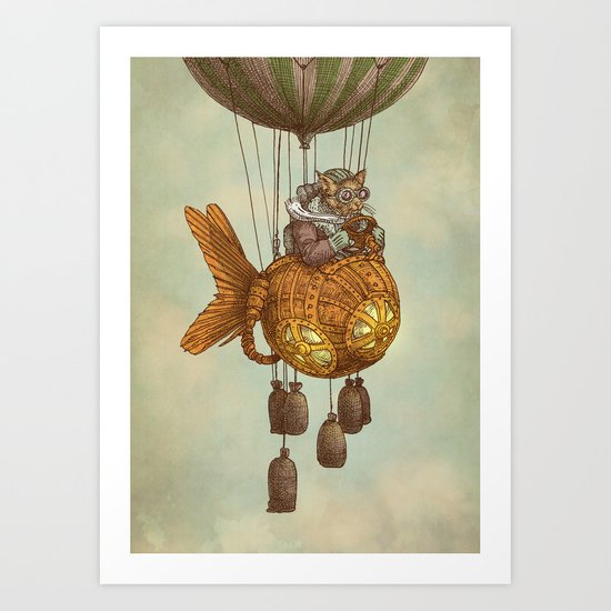 Around the World in the Goldfish Flyer Art Print