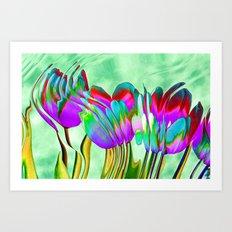 Tulips behind wavy glass Art Print
