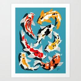Colorful Koi Carps Swimming Around Art Print