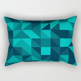 The bottom of the ocean - Random triangle pattern in shades of blue and turquoise  Rectangular Pillow