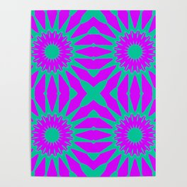 Purple & Teal Pinwheel Flowers Poster