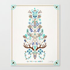 La Vie & La Mort – Turquoise and Brown Canvas Print