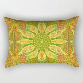 Sun Flower, bohemian floral, yellow, green & orange Rectangular Pillow