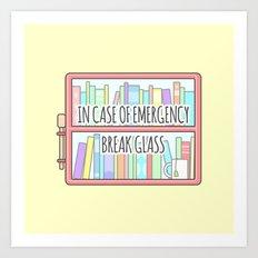 Emergency Bookshelf Art Print