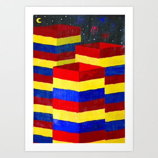 Primary Columns Art Print