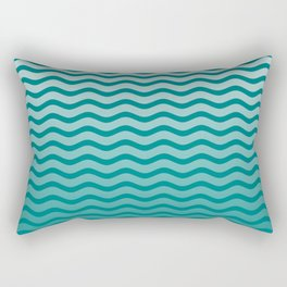 Teal and White Faded Chevron Wave Rectangular Pillow