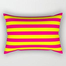 Super Bright Neon Pink and Yellow Horizontal Beach Hut Stripes Rectangular Pillow