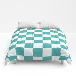 Checkered - White and Verdigris Comforters