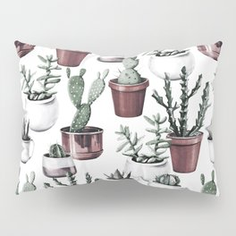 Happy Cacti in Rose Gold Pots Pattern Pillow Sham