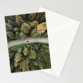 winding road on a forest Stationery Cards