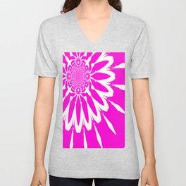 The Modern Flower Fuchsia Pink Unisex V-Neck