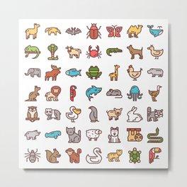 CUTE ANIMAL KINGDOM PATTERN Metal Print