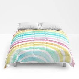 Pastel Watercolour Rainbow art Comforters