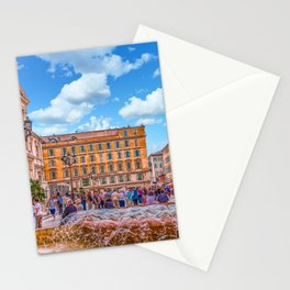 People in Nice Plaza with Fountain Stationery Cards