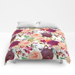 Modern fuchsia pink coral green watercolor roses Comforters